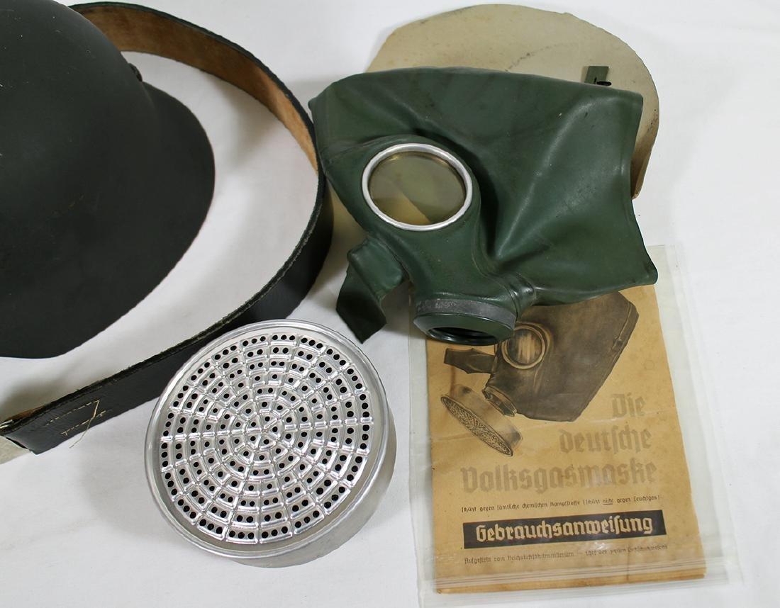 WWII GERMAN COMBAT HELMET, BELT, & GAS MASK - 3