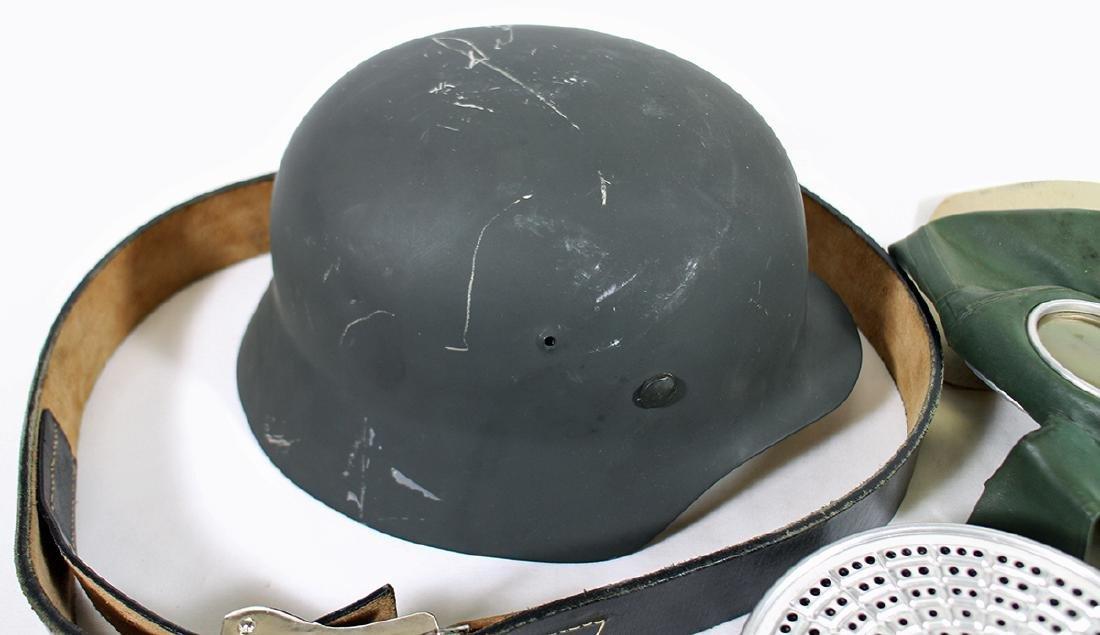 WWII GERMAN COMBAT HELMET, BELT, & GAS MASK - 5