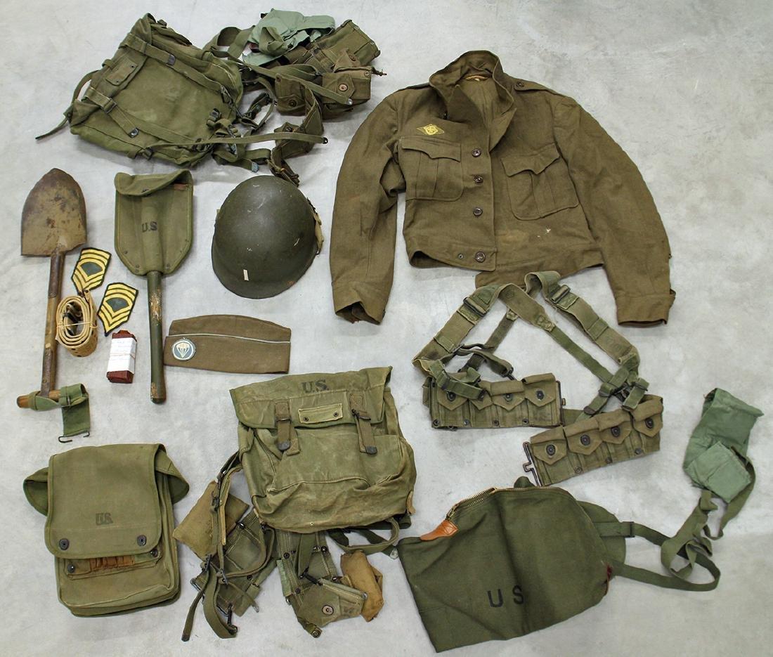 WWII US ARMY FIELD GEAR, JACKET, HELMET & MORE