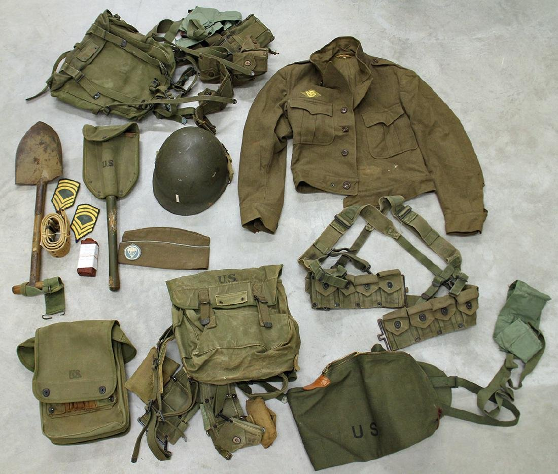 WWII US ARMY FIELD GEAR, JACKET, HELMET & MORE