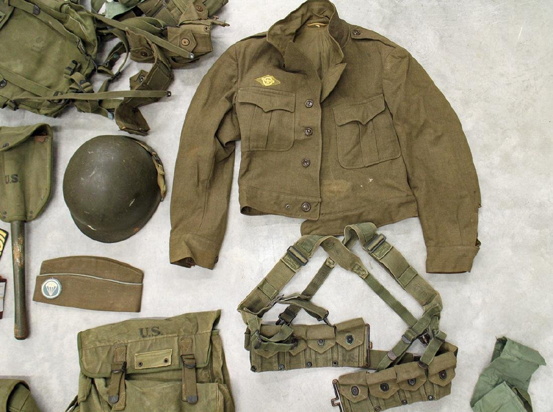 WWII US ARMY FIELD GEAR, JACKET, HELMET & MORE - 6