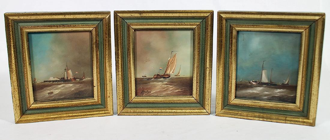 (3) DUTCH SHIP PAINTINGS