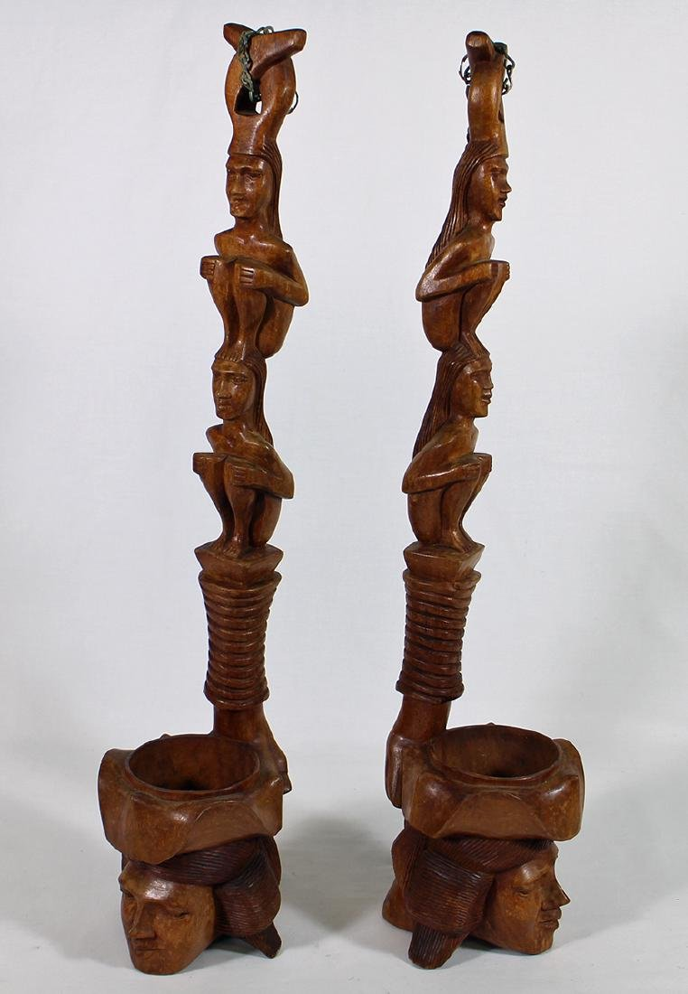 (2) CARVED TOTEM POLE WOOD SCULPTURES