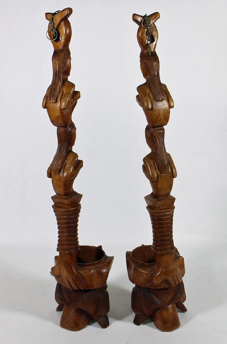 (2) CARVED TOTEM POLE WOOD SCULPTURES - 3