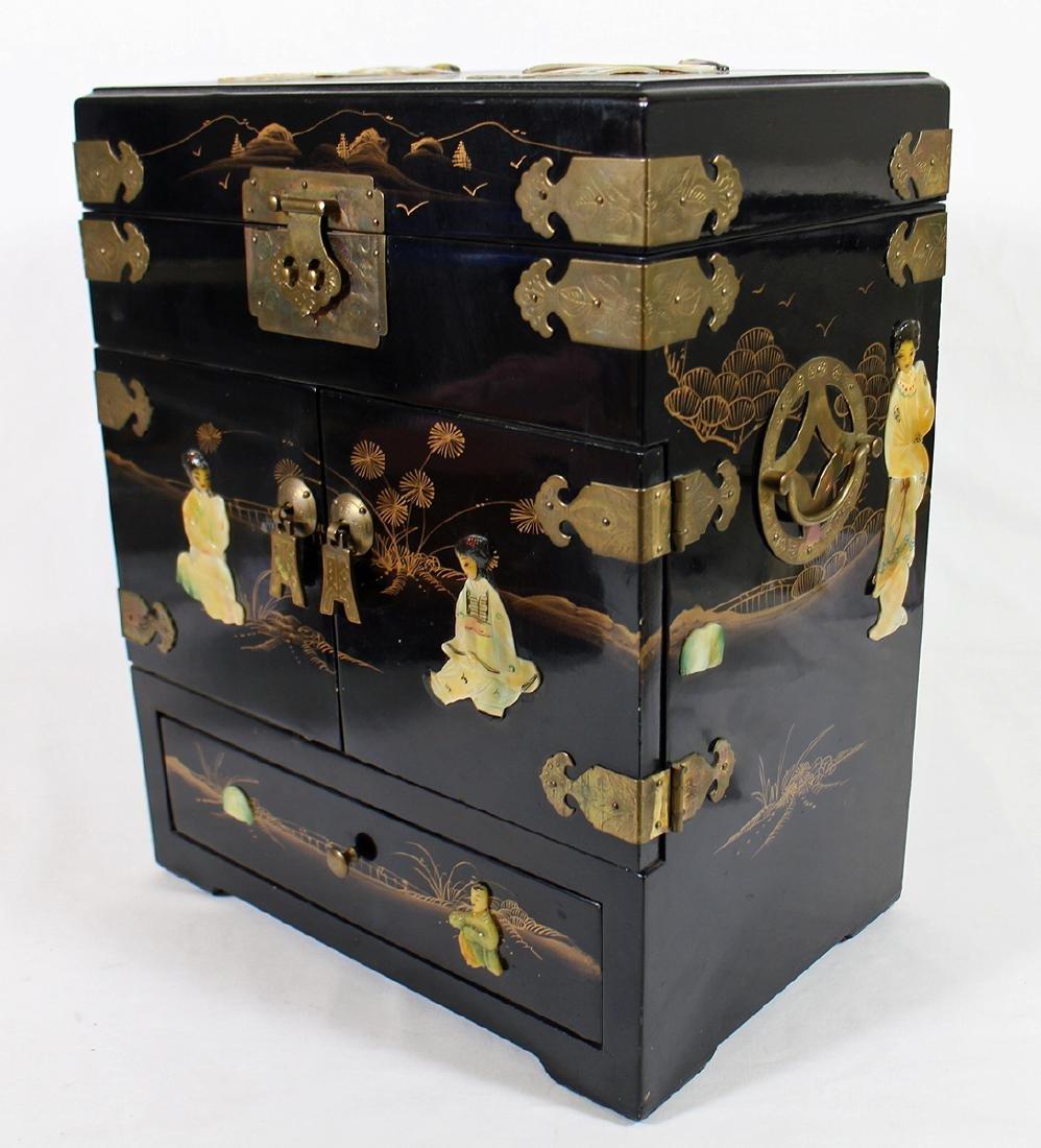 JAPANSE BLACK LACQUER ABALONE JEWELRY BOX - 2