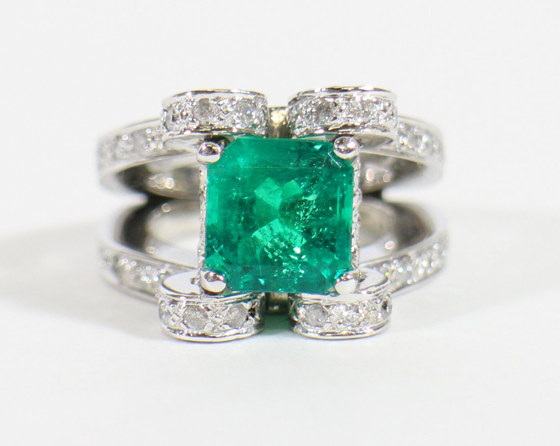 GIA 4.25 CARAT COLOMBIAN EMERALD & DIAMOND RING