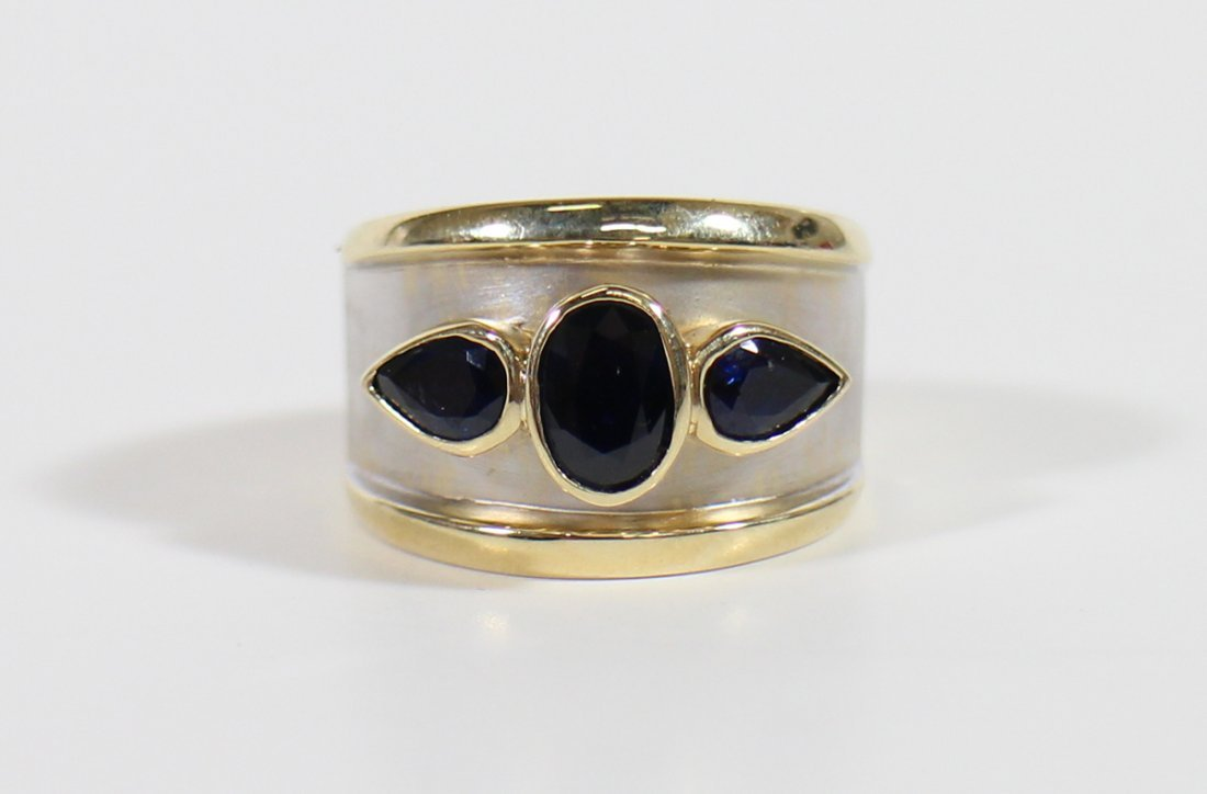 14K TWO TONE SAPPHIRE RING
