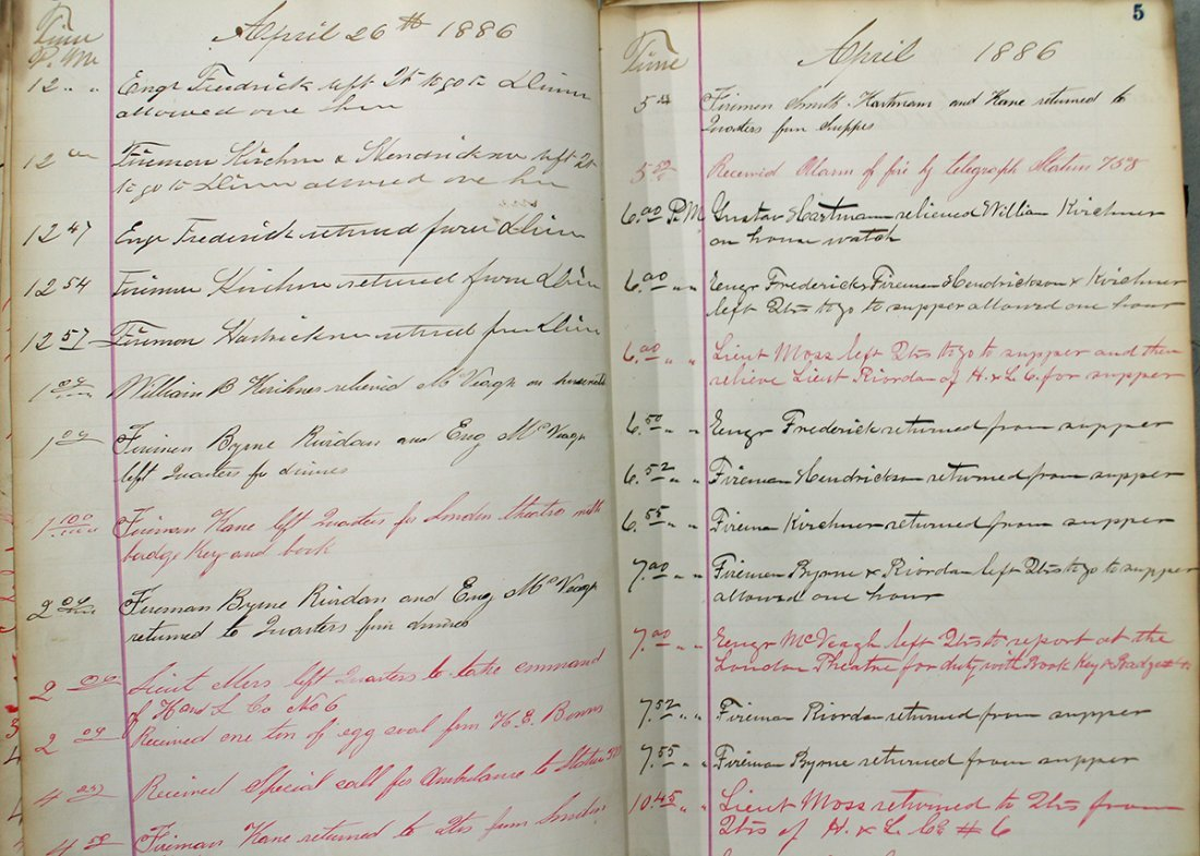 19TH CENTURY FIRE DEPARTMENT LOG BOOK - 4