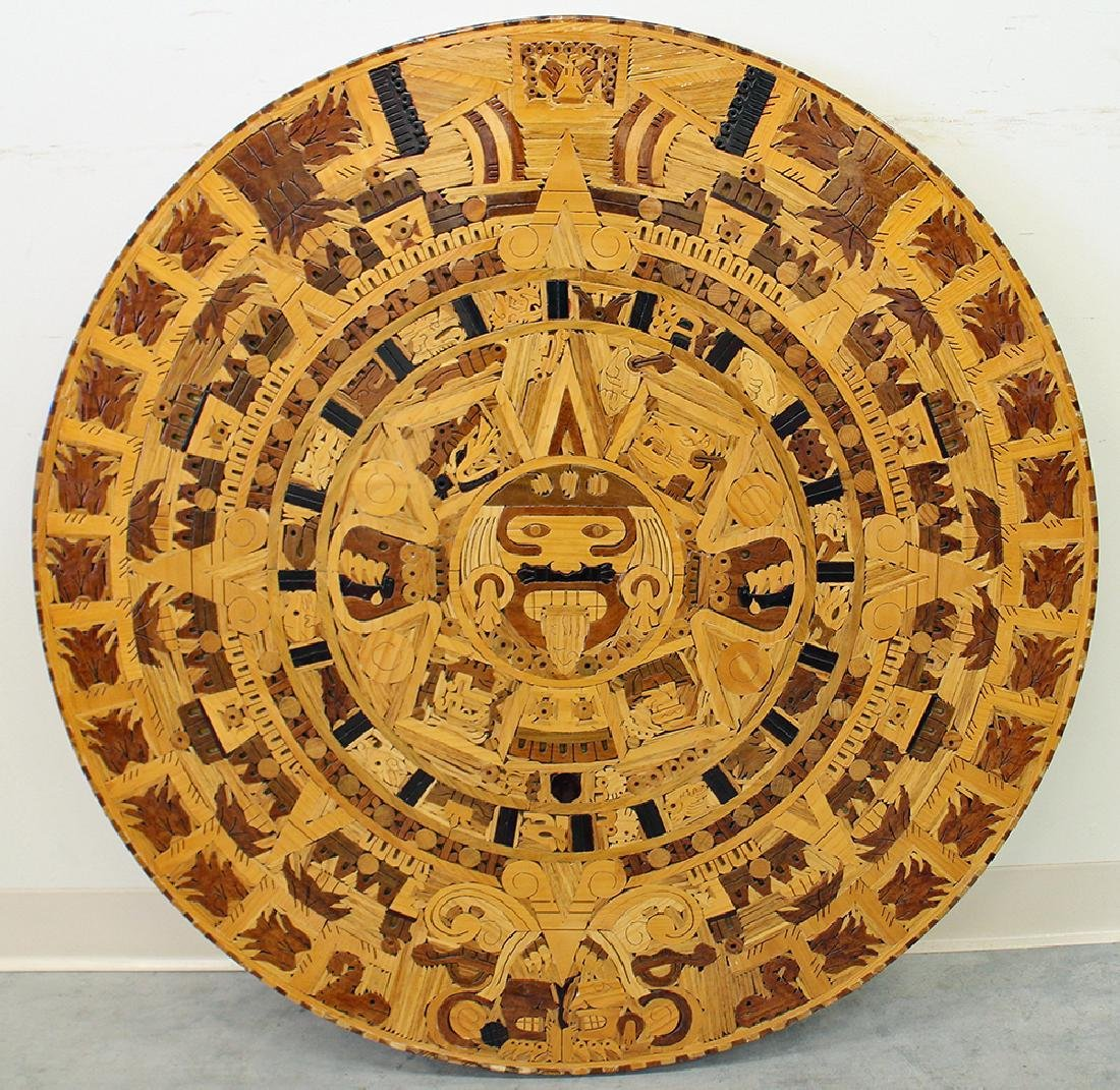 MAYAN CARVED WOOD CALENDAR