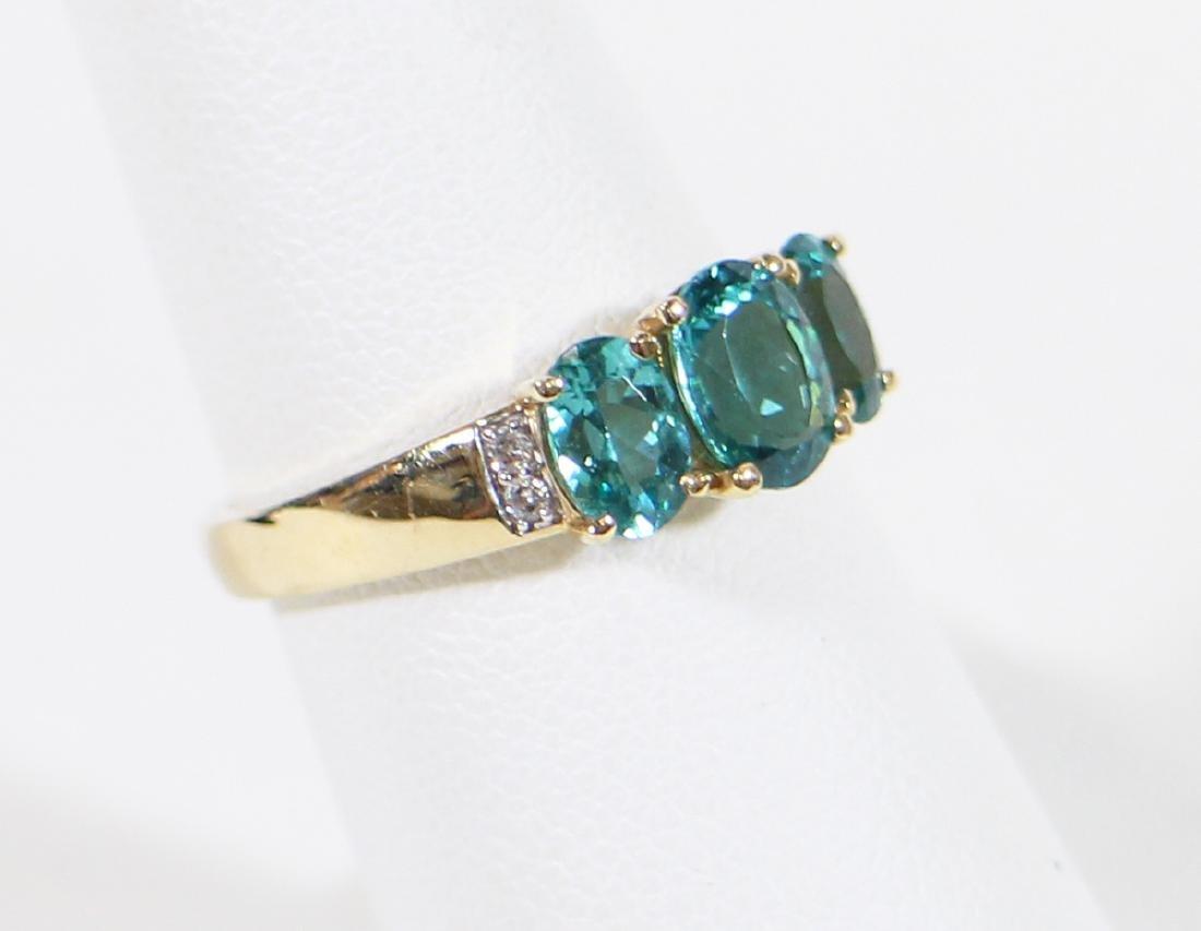 14K BLUE TOPAZ & DIAMOND RING - 2