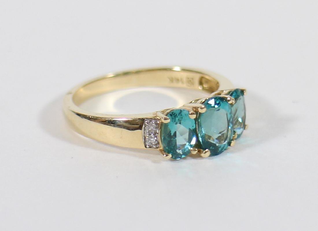 14K BLUE TOPAZ & DIAMOND RING - 3