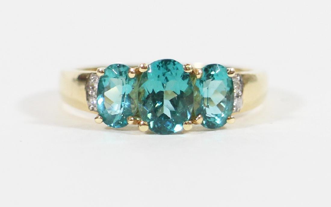 14K BLUE TOPAZ & DIAMOND RING - 4