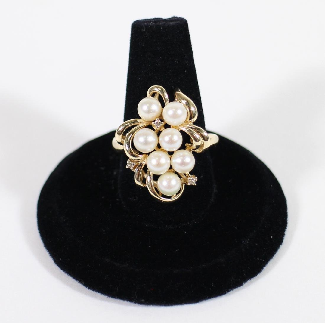 VINTAGE 14K YELLOW GOLD PEARL & DIAMOND RING