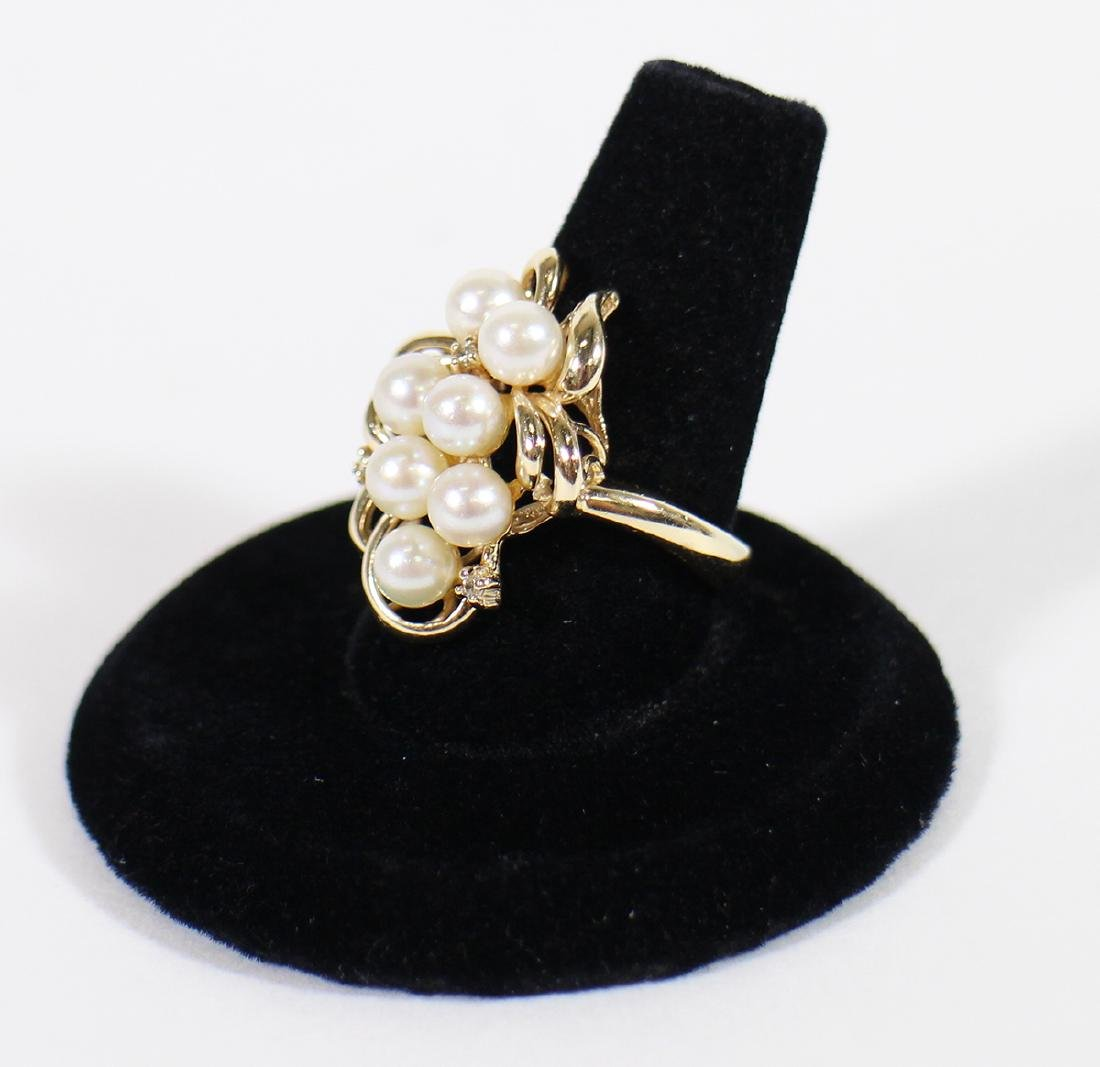 VINTAGE 14K YELLOW GOLD PEARL & DIAMOND RING - 3