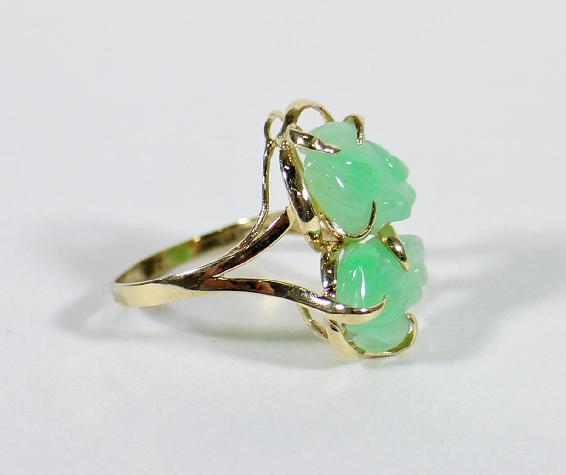 14K CARVED JADE FROG RING - 3