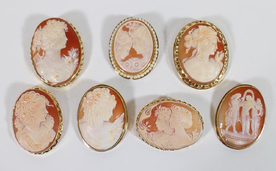 (7) LARGE VINTAGE 18K GOLD CAMEO BROOCHES