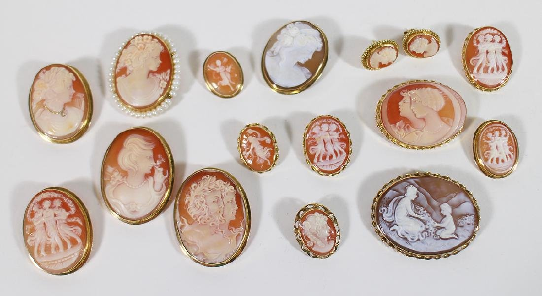 (15) 18K VINTAGE SHELL CAMEO BROOCHES & EARRINGS