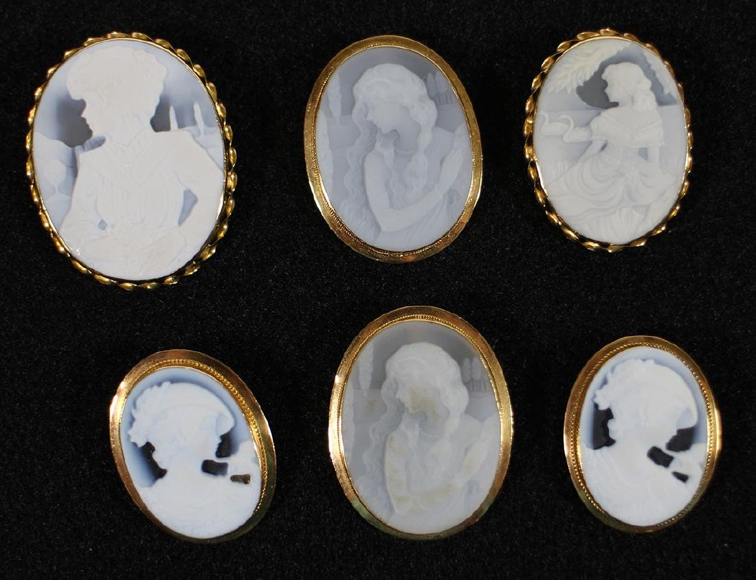 (6) VINTAGE 18K GOLD HARDSTONE CAMEO BROOCHES