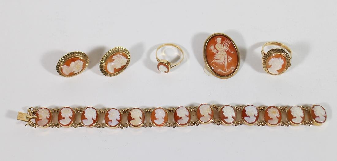 14K CAMEO BRACELET, RINGS, EARRINGS & BROOCH