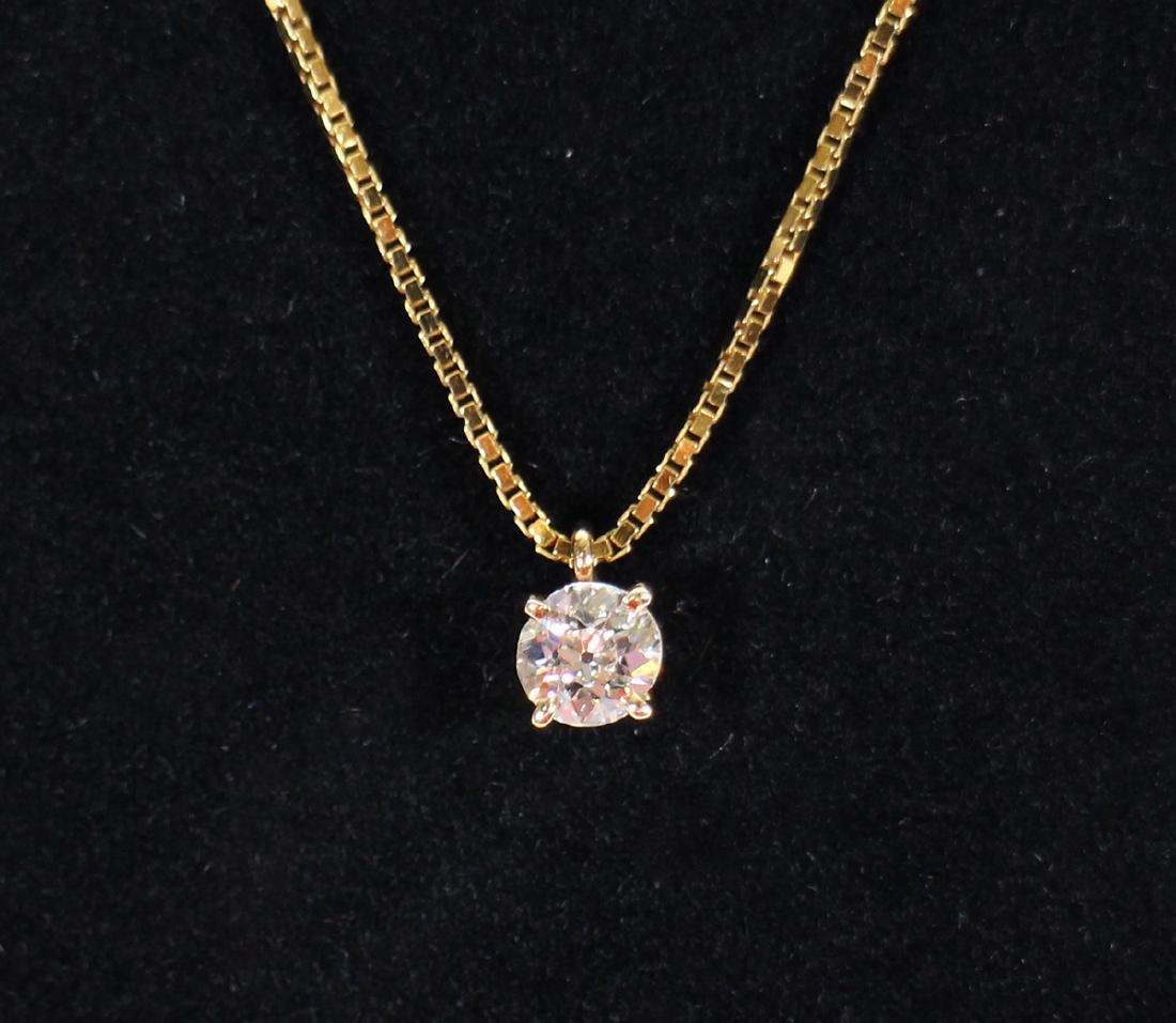 .50 CARAT OLD MINE CUT DIAMOND PENDANT & 14K CHAIN