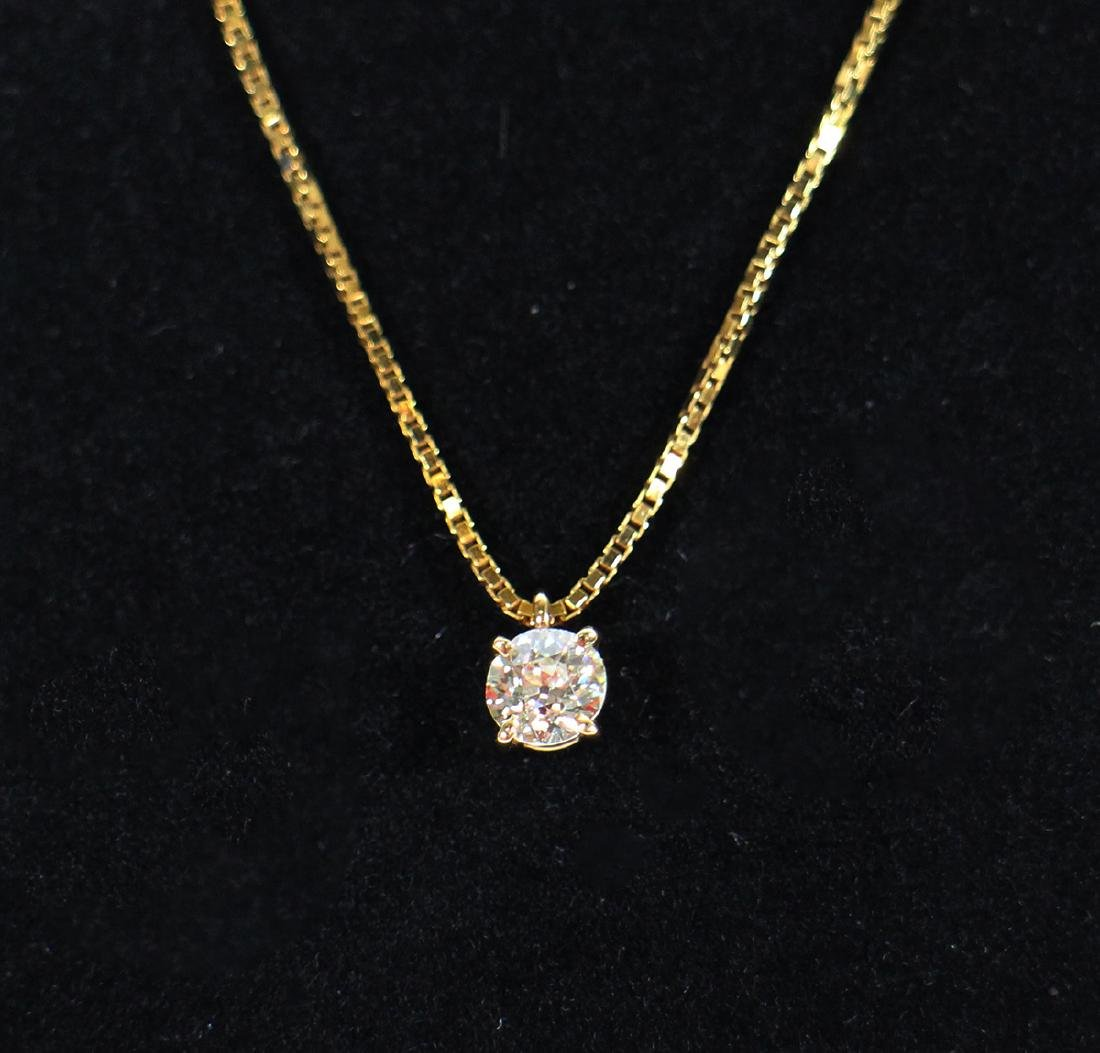 .50 CARAT OLD MINE CUT DIAMOND PENDANT & 14K CHAIN - 2