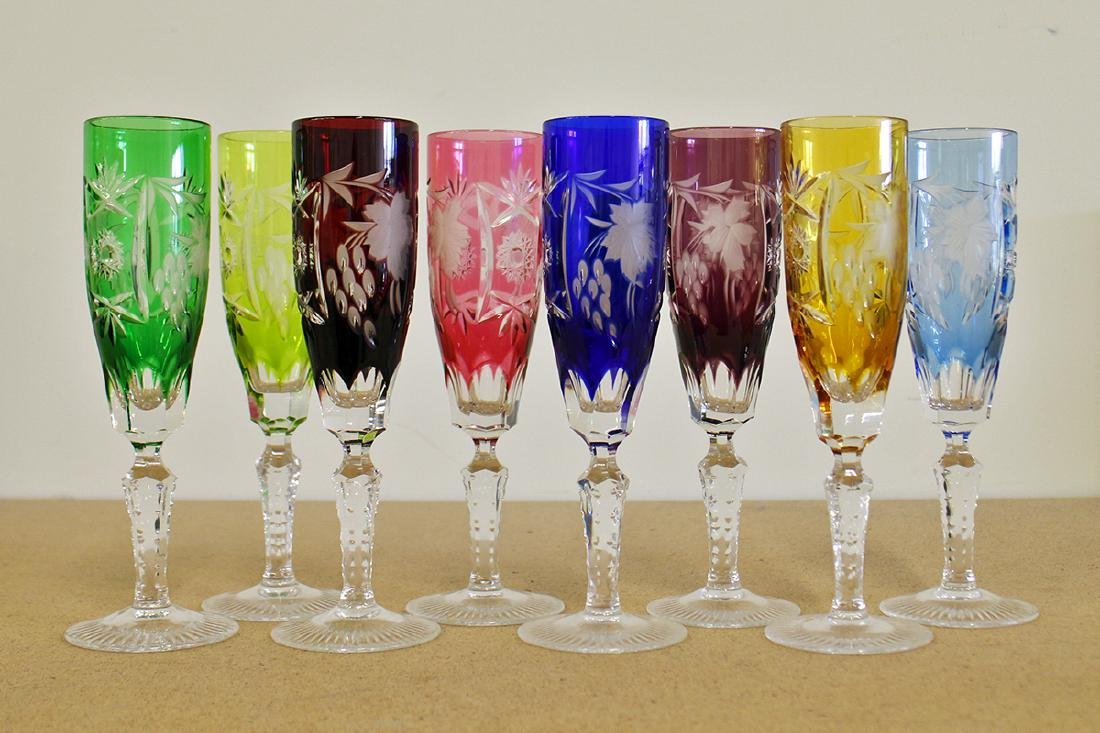 (8) NACHTMANN GERMAN CUT TO CLEAR CHAMPAGNE FLUTES