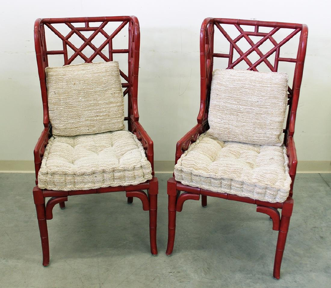 (2) GUILDMASTER BAMBOO WINGBACK CHAIRS