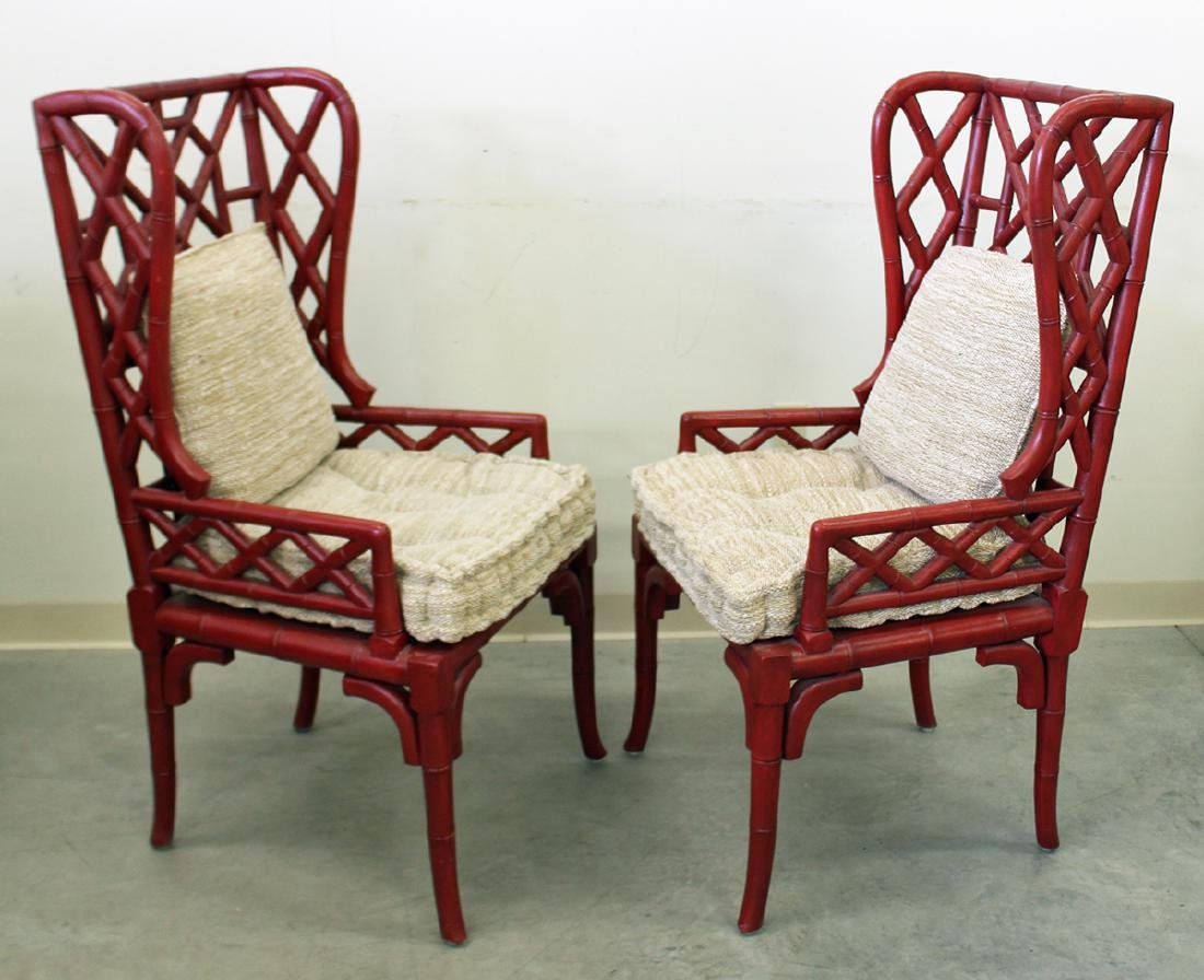 (2) GUILDMASTER BAMBOO WINGBACK CHAIRS - 2