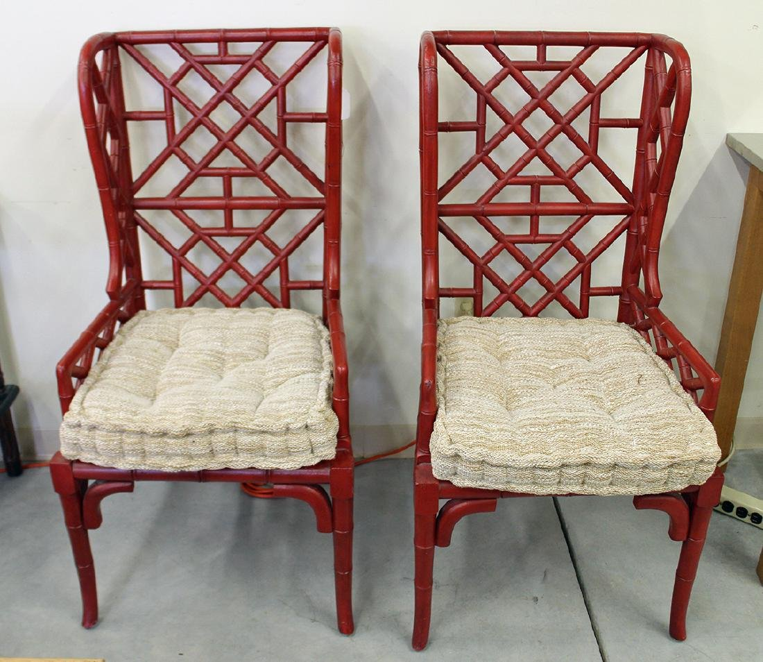 (2) GUILDMASTER BAMBOO WINGBACK CHAIRS - 4