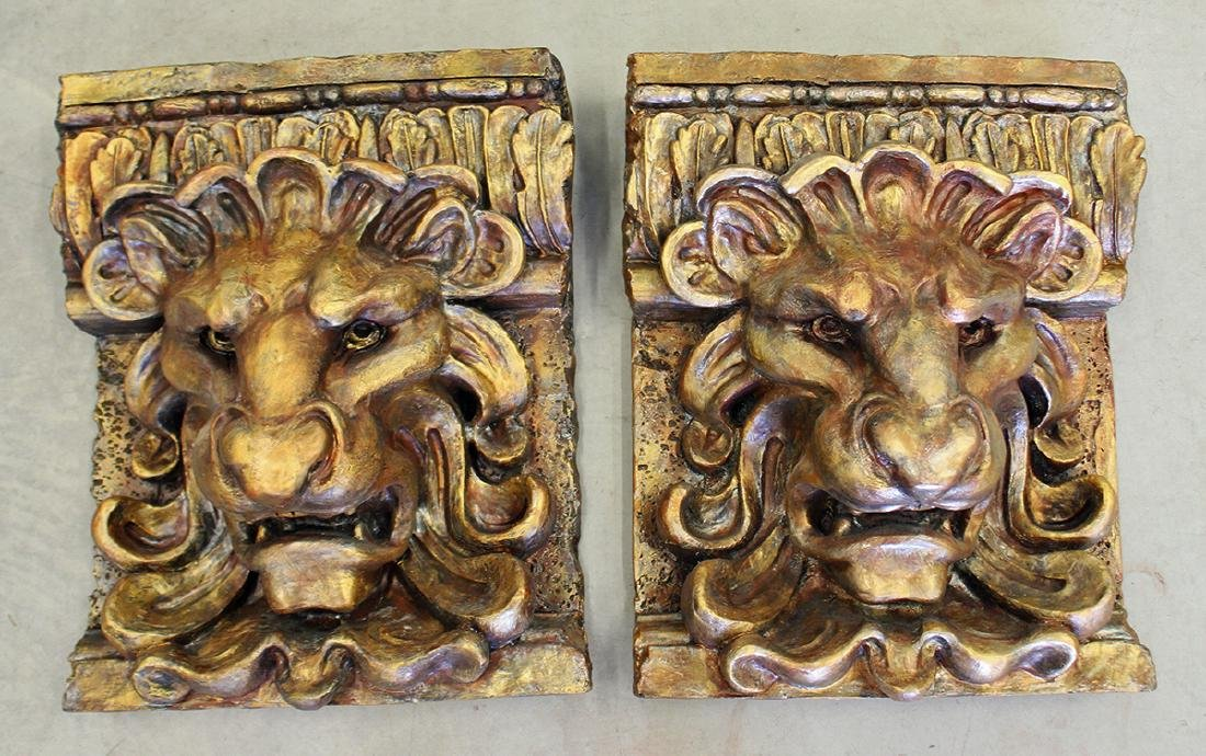 PAIR OF LION WALL PLAQUES