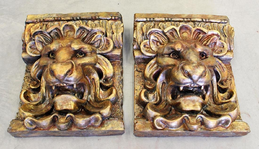 PAIR OF LION WALL PLAQUES - 2