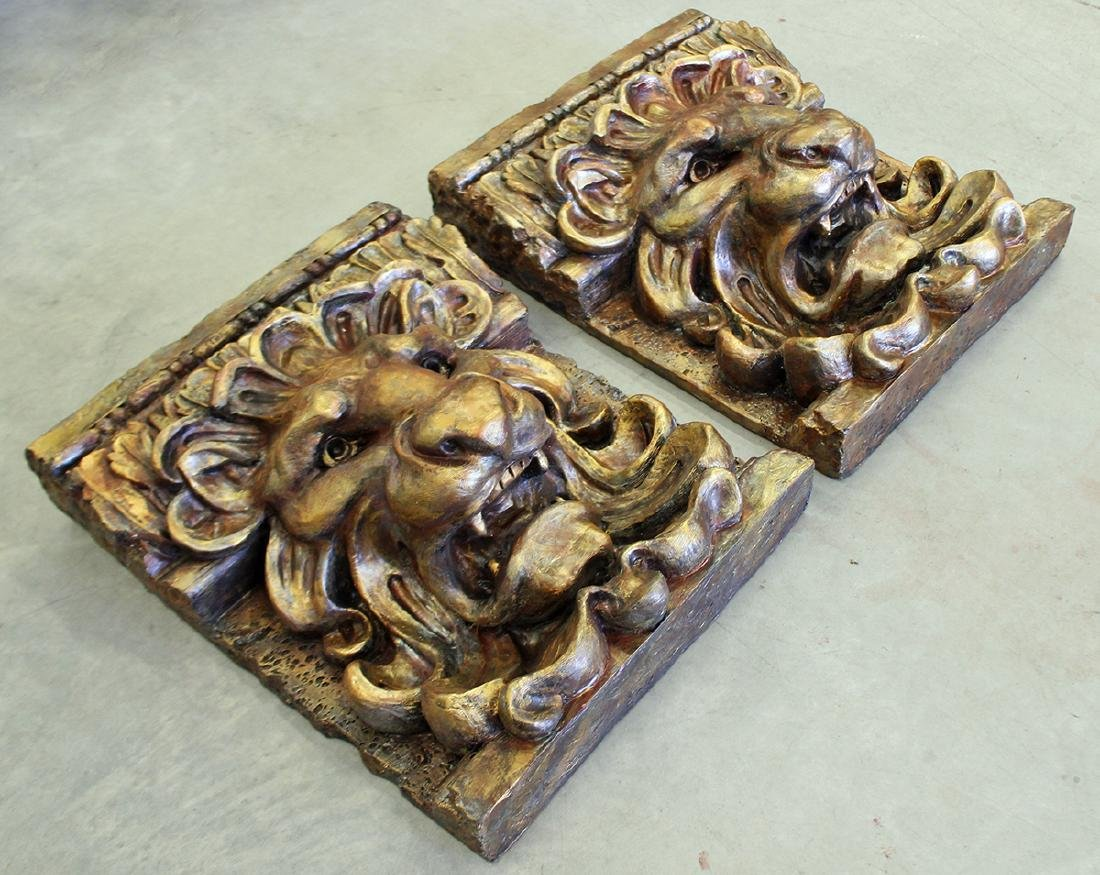 PAIR OF LION WALL PLAQUES - 3