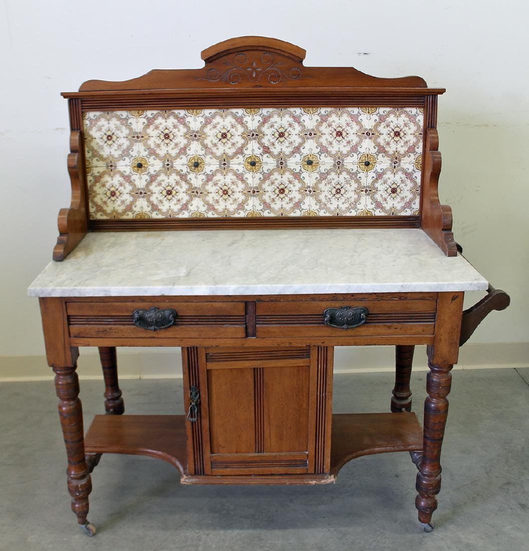 ANTIQUE TILE & MARBLE TOP WASHSTAND