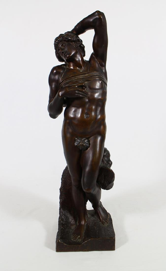 "F. BARBEDIENNE ""DYING SLAVE"" MICHELANGELO BRONZE"