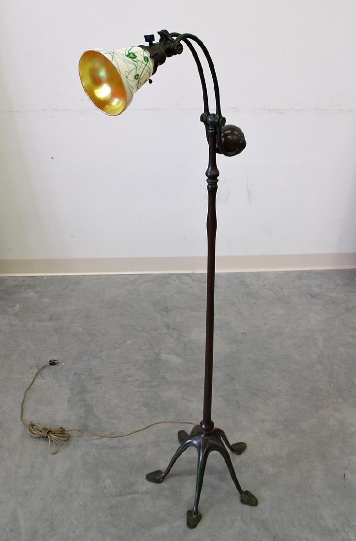 TIFFANY STUDIOS COUNTERBALANCE BRONZE FLOOR LAMP - 4