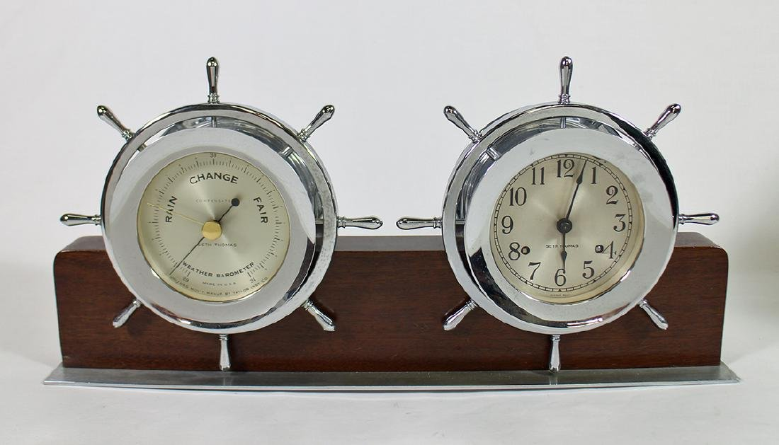 SETH THOMAS SHIP'S WHEEL BAROMETER & CLOCK