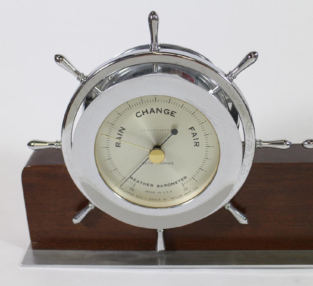 SETH THOMAS SHIP'S WHEEL BAROMETER & CLOCK - 2