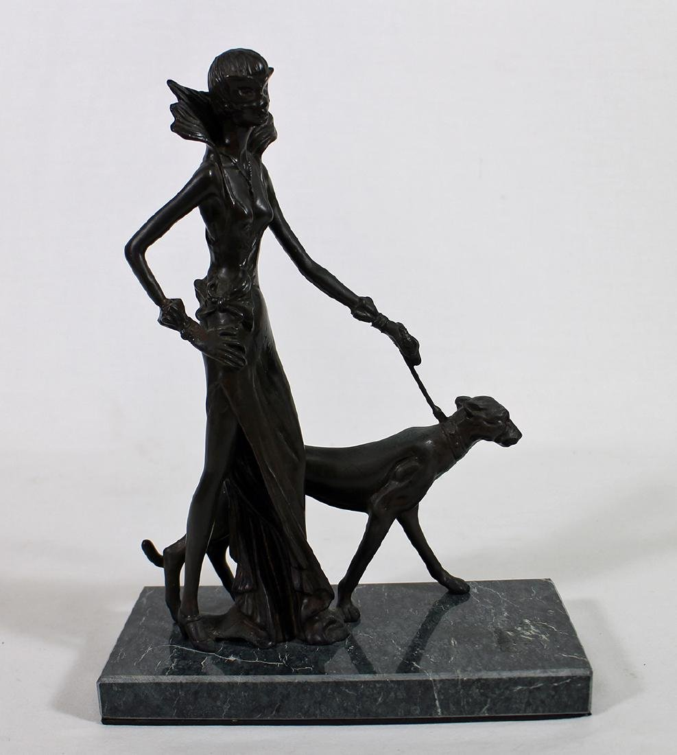 AFTER CHIPARUS BRONZE LADY WITH PANTHER