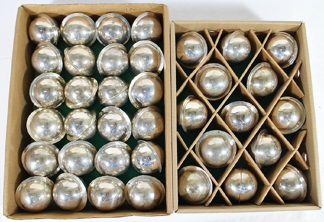 (37) NEIMAN MARCUS STERLING SATURN BALL ORNAMENTS
