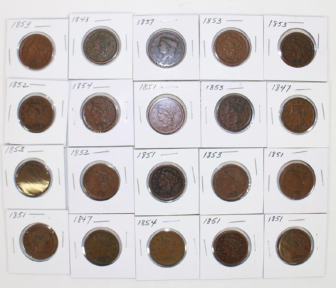 (20) LARGE ONE CENT COINS