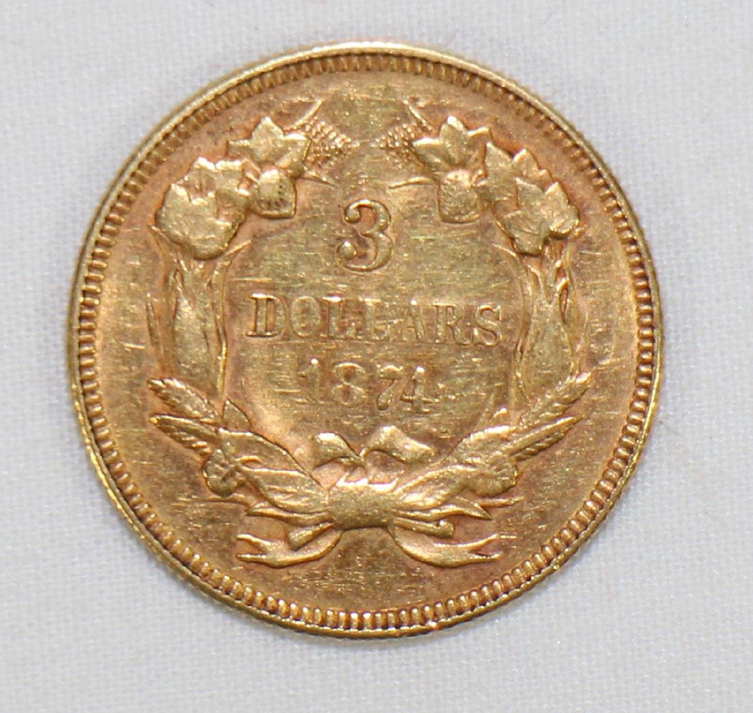 1874 $3 GOLD COIN - 2