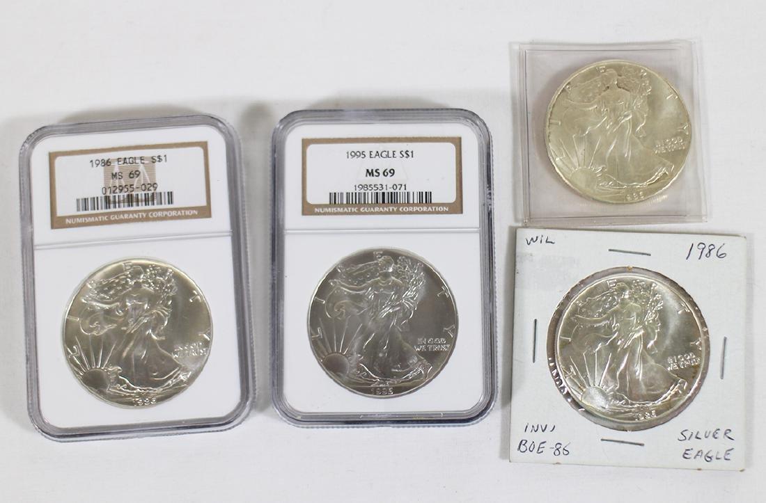 (4) SILVER EAGLE COINS