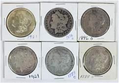 6 MORGAN SILVER DOLLAR COINS
