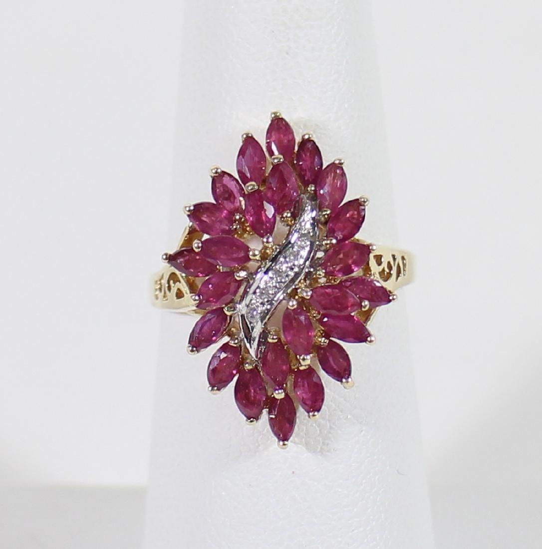 14K RUBY & DIAMOND COCKTAIL RING