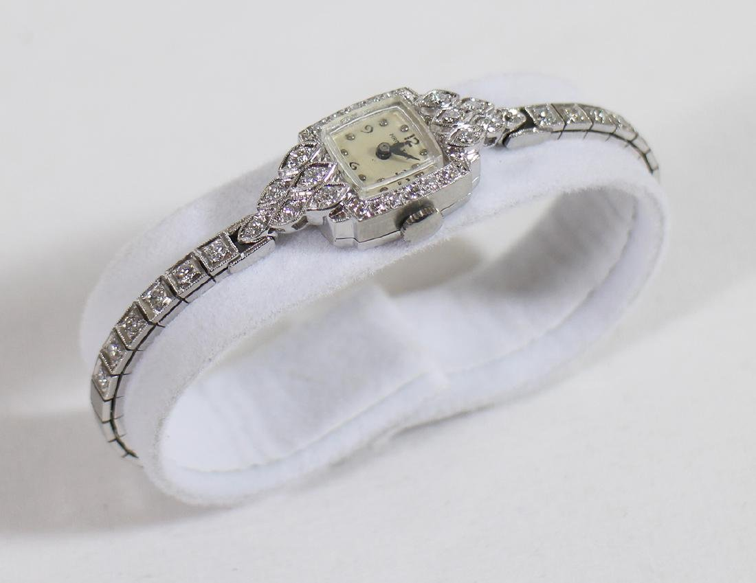 LADIES PLATINUM & DIAMOND HAMILTON WATCH