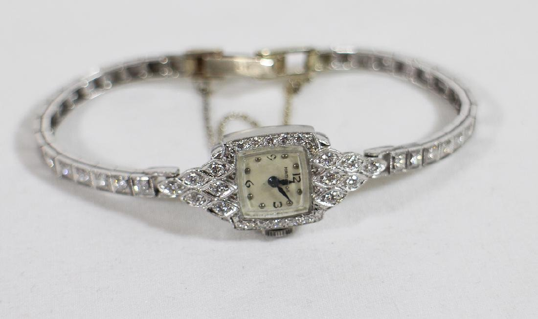 LADIES PLATINUM & DIAMOND HAMILTON WATCH - 2