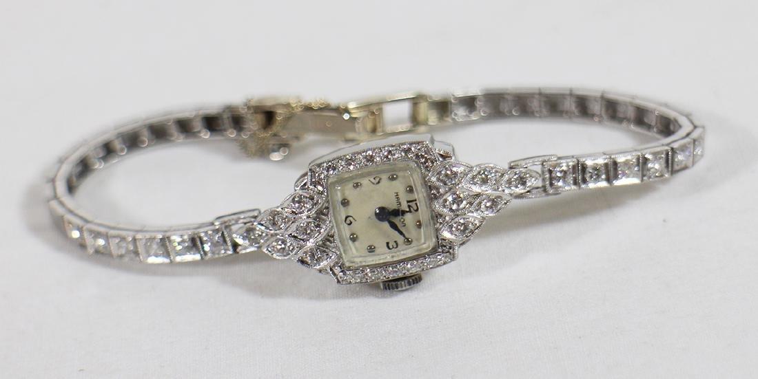 LADIES PLATINUM & DIAMOND HAMILTON WATCH - 3
