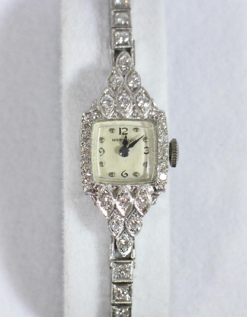 LADIES PLATINUM & DIAMOND HAMILTON WATCH - 4