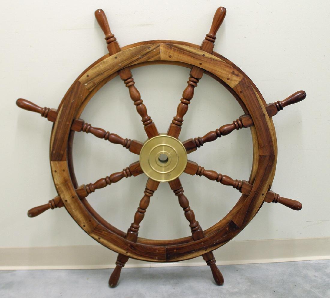 LARGE WOOD SHIP'S WHEEL