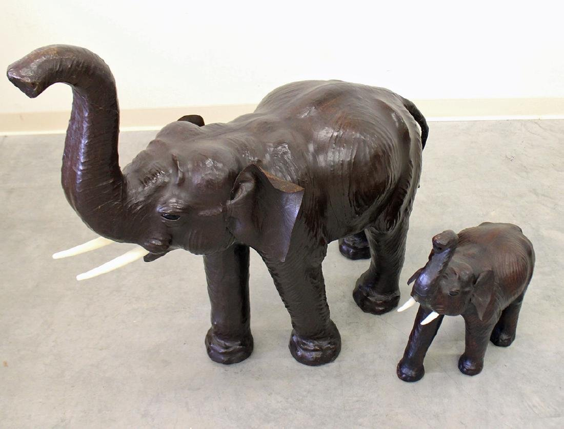 (2) LEATHER ELEPHANTS - 2